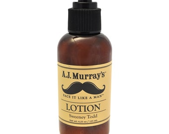 hand and body lotion, lotion for men, men's grooming products, organic lotion, handmade lotion, moisturizer for men, Sweeney Todd
