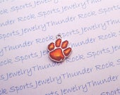 3 CLEMSON TIGERS CHARMS Antique Silver Plated with orange enamel University logo College Pendants