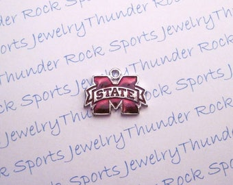 3 MISSISSIPPI State BULLDOGS CHARMS Antique Silver Plated with red enamel University logo College Pendants