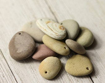 Stone beads - Drilled river stones - Alaska river stones - Natural jewelry supplies - Found items - Rocks beads - Boho style - Pendant sizes