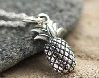 Pineapple Jewelry - Pineapple lover -  Pineapple necklace - Sterling pineapple - Fruit necklace - Silver pineapple necklace - Layer necklace