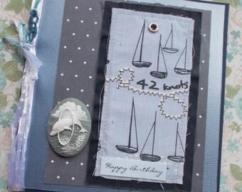 Nautical Birthday Card, Happy Birthday, Sailing Boats, Dolphin Cameo - mixed media fabric sewn card