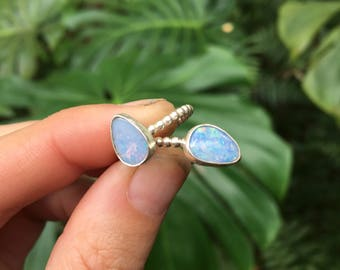 OPAL RING circle band // sterling silver // made to your size in byron bay // australian opal