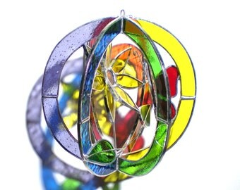 Radiance Blooms - Stained Glass 3D Sphere - Small Sunflower Rainbow Nature Scene Suncatcher Hanging Art Sculpture Colorful (READY TO SHIP)