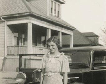 vintage photo 1930s Cute young woman Stands by CAr in Detroit Mi