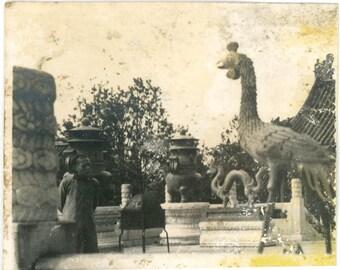vintage photo 1911 Peking China Summer Palace Dragon & Phoenix Chinese Man