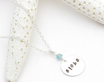 aloha medium disc - aqua chalcedony apatite sterling silver blue kyanite hand stamped chain pendant necklace, hawaii jewelry, kailua jewelry