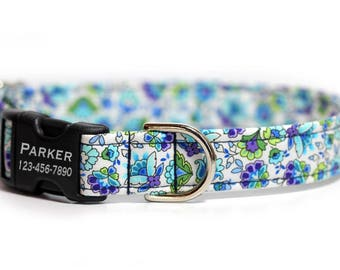Floral Engraved Dog Collar, Personalized Dog Collar - Bluebells