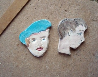 2 Glazed Flat Ceramic Clay Face Tiles for Mosaic Crafts Assemblage Altered Art
