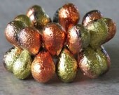 California Gold Etched Czech Glass Bead 9x6mm Teardrop Mix : 25 pc Full Strand Etched Tear Drop Mix