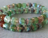 6mm Woodland Mix Czech Glass Cathedral Bead : Full Strand Cathedral Bead