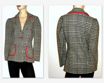 Vintage 50s Jacket 1960s Black & White Houndstooth Jacket Red Trim
