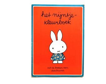 Vintage 1970s Miffy Coloring book - Dick Bruna 70s Unused Dutch Nijntje Kleurboek - Classic