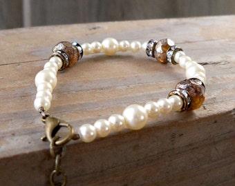 Rustic Wedding - Ivory Pearl Bracelet - Beaded Bracelet - Boho Jewelry - Wedding Jewelry - Boho Bracelet - Adjustable Bracelet - Swarovski