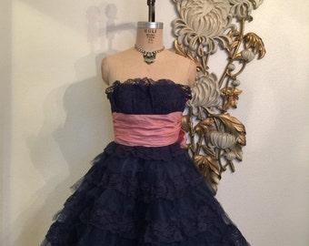 Fall sale Vintage dress party dress lace dress size x small tulle dress betsey johnson navy blue dress