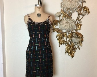 Fall sale 1980s dress beaded dress black dress size small cocktail dress holiday dress mini dress