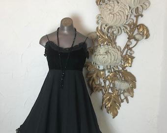 1990s dress babydoll dress 90s dress chiffon dress size small Vintage dress black dress empire waist dress lolita dress