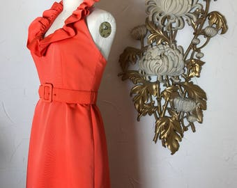 1960s dress maxi dress formal gown size medium orange dress halter dress vintage dress 1960s gown