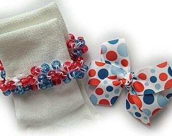 Kathy's Beaded Socks - Americana Dots Socks and Hairbow, school socks, pony bead socks, clear pony beads, red blue pony beads, dot socks