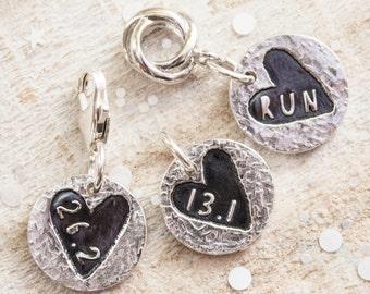 Sweet Heart Silver Runners Charm, Silver Running Charm, Gift for Runner, Running Jewellery, Marathon, Half Marathon, Run Charm, 13.1, 26.2