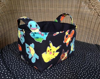 Fabric Basket Storage Bin Made from Pokemon Character Fabric