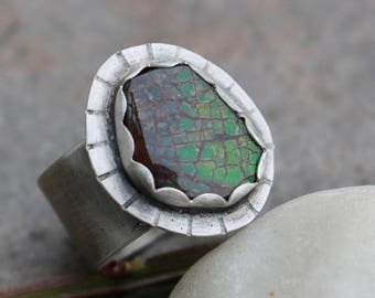 25% Off - Ammolite Sterling Silver Wide Band Bold Ring Size 9.5
