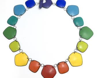 Rainbow Chakra Necklace no.3 enamel on copper geometric collar wear three ways