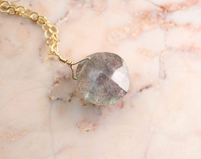 Cushion Cut Labradorite Littles Necklace
