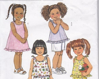 Butterick 4173 Girls Tops Shorts Cropped Pants Sun Dress Easy Sewing Pattern Size 4-6 Out of Print UNCUT