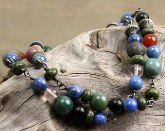 Landscape Bracelet in Quartz, Jasper, Jet, Sodalite, Agate, Jade, Glass, and Sterling Silver