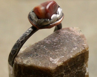 Blossom Ring in Agate Sterling and Copper