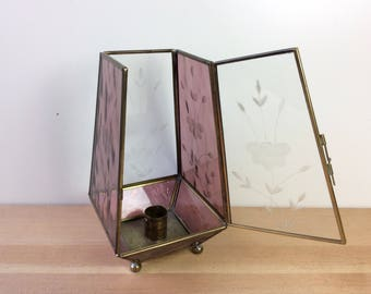 Glass and Brass Candle Holder. Vintage Candleholder Case, Stained Glass. Etched Glass Box, Hinged Door. Pretty, Sweet Retro Decor.