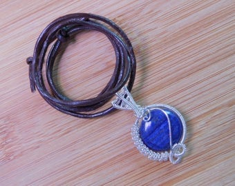 Blue Lapis Lazuli Coin Bead Pendant Wire Wrapped Sterling Silver Wire Wrapped Jewelry Handmade Scifi Blue Amulet Handcrafted Medallion