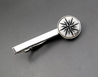 Scrimshaw Tie Bar Nautical Tie Bar Compass Rose Ocean Sea Sailing Silver Tie Bar Silver Plated Hand Etched Cow Bone Scrimshaw