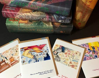 HOGWARTS FRIENDS blank greeting cards from the faerie tale feet series:  includes one hermione, one harry, one ron, and one luna card