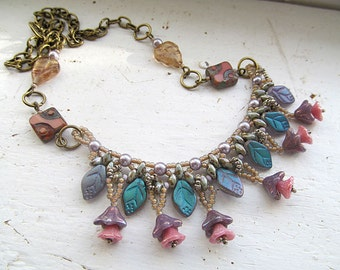 Victorian Flower Necklace, Flower Bead Necklace, Beadwoven necklace, Glass Bead Necklace, Glass Flowers and Leaves, Dementia Awareness