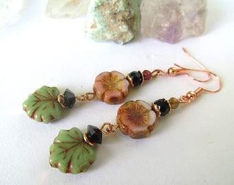 Pink Flower Earrings, Cherry Blossom Jewelry, Glass Bead Earrings, Botanical Earrings, Rosegold, Moonlilydesigns, Dementia Awareness