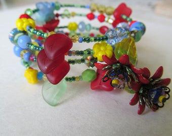Memory Wire Bracelet, Wildflowers, Beaded Bracelet, Bohemian Wrap Bracelet, Yoga Jewelry, Wrap Bracelet, One Size Fits all