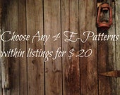 Pick 4 instant download epattern Sale This listing only