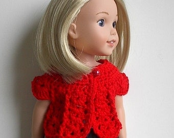 14.5 Inch Doll Clothes Crocheted Sweater Top Handmade to fit the Wellie Wishers and other similar dolls - Bright Red Sweater