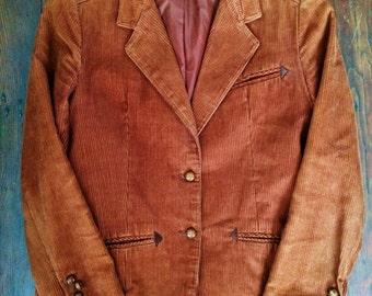 Vintage womens chocolate brown corduroy 1970's/1980's blazer/jacket. Size M