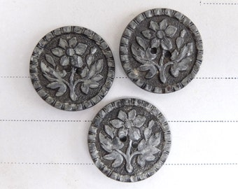 3 Antique Pewter Buttons 1800s Floral