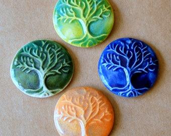 4 Ceramic Mosaic tiles - Tree of Life Cabochones
