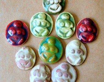 10 Ceramic Mosaic Tiles - Small Goddess Cabochons in Earthy Glazes -  Goddess Stones - Handmade Mosaic Supplies