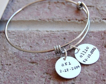 Mother's Bangle Charm Bracelet Personalized Custom Birthstone Name Stainless Steel bangle