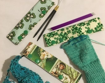"""Stitch Hoodies, set of three, 5-6"""" long Needle cozies for DPNs or circular needles"""