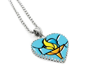 Unitarian Church Jewelry, UU Chalice Jewelry, Heart Glass Pendant, UU Jewelry
