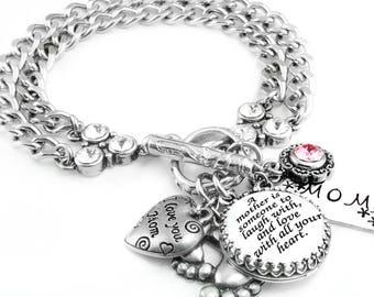Personalized Birthstone Bracelet, Custom Bracelet, Personalized Bracelet, Choose your Quote, Birthstone Jewelry, Stainless Steel