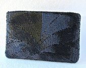 Vintage Studio 18 La Regale Black Beaded Clutch Formal Evening Hand Bag Jet Glass Bead Clutch Hand Made Purse Prom MOH MOG MOB Cocktail