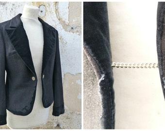 Vintage 1970/70s Trachten Dirndl Austria boiled wool black jacket with velvet finishings oktoberfest  size  M/L